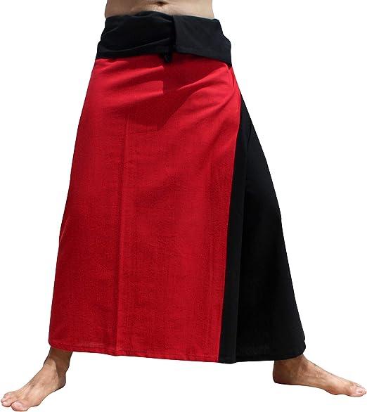 Raan Pah Muang Brand Plain Cotton Thai Drive in Wrap Around Pants Wide Cut Casual