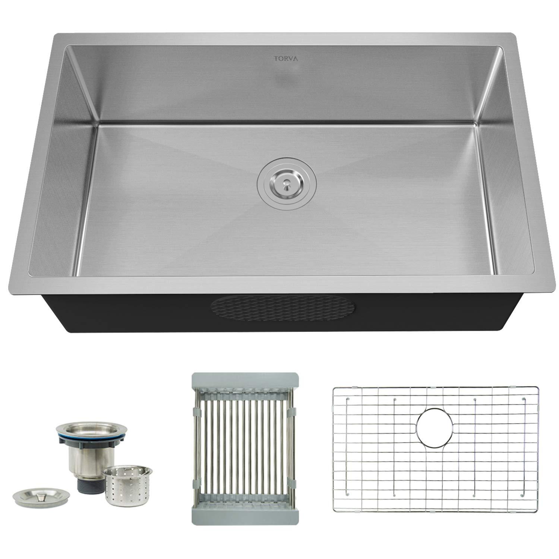 TORVA 32 Inch 16 Gauge Undermount Stainless Steel Single Bowl Kitchen Sink Handmade 10 Inch Deep