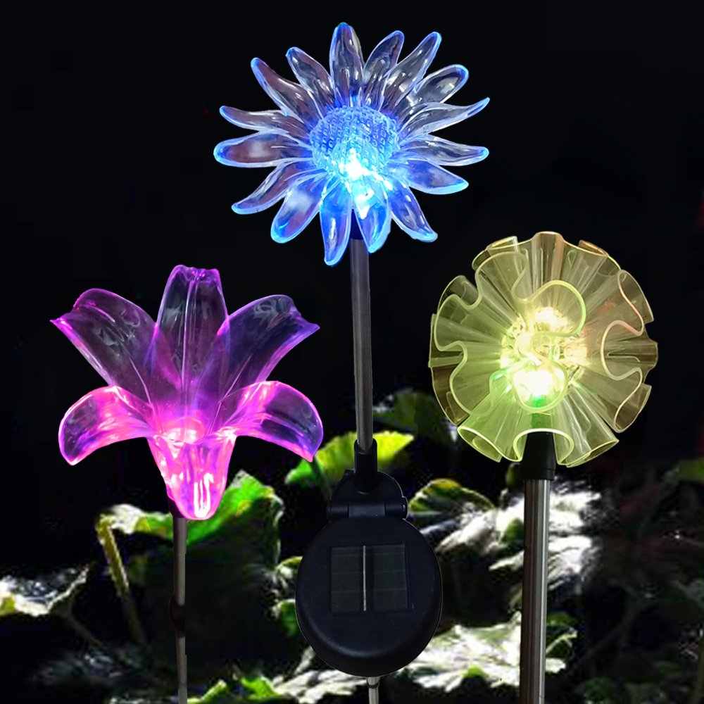 [Set of 3] Solar Stake Lights Outdoor - LED Color Changing Flower Lights Garden Decor Figurines Statues (DANDELION, LILY, SUNFLOWER) - for Garden, Patio, Backyard (3 Flowers) by Eutreec