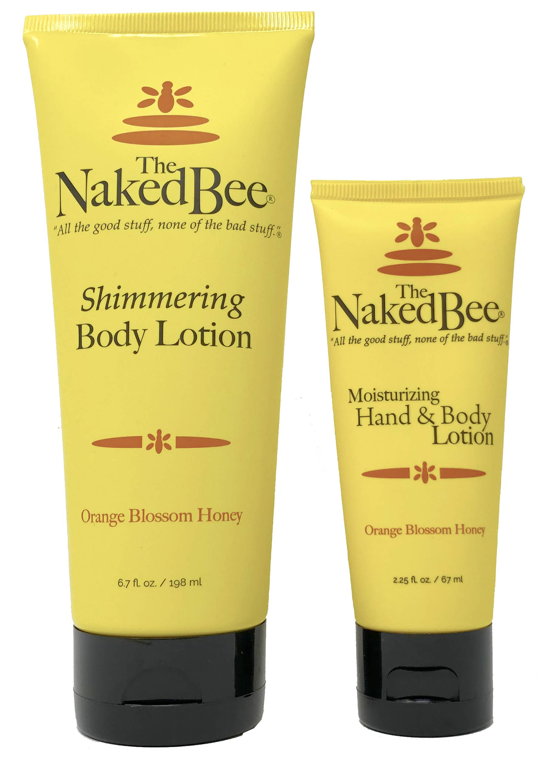 The Naked Bee Orange Blossom Honey Shimmering Body Lotion 6.7 Ounce and Moisturizing Hand & Body Lotion 2.25 Ounce - Pack of 2 with Tru Inertia Nail File by Tru Inertia