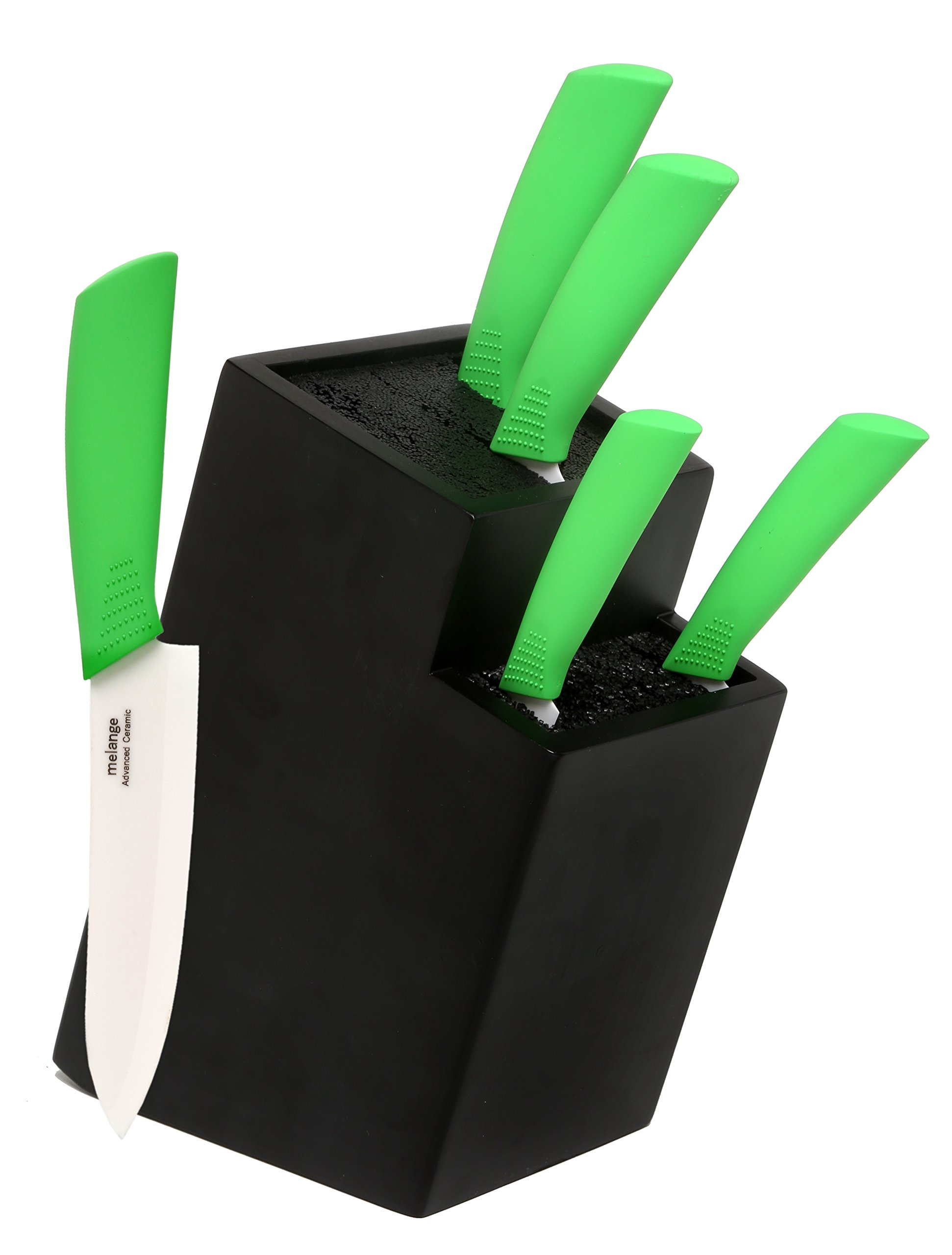 Melange 6-Piece Lime Handle and White Blade Ceramic Knife Set with 2-Tier Black Wood Universal Knife Block