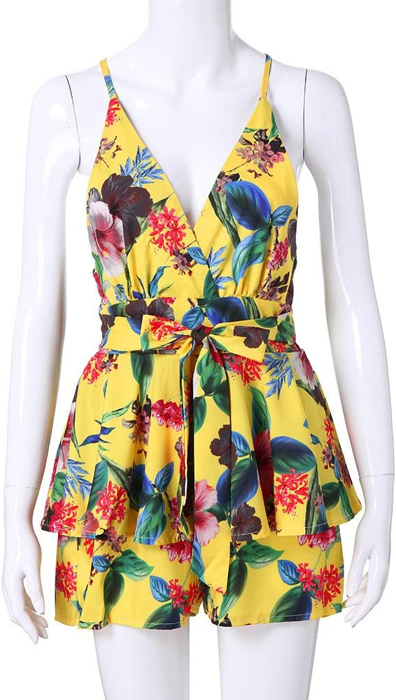 21ed599fd7 Holywin Mini-Short imprimé Floral à col en V pour Femme Bandage Fête sur la.  Retour. Appuyez ...