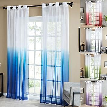 Topfinel Lot de 2 Rideaux Voilage Transparent Decoration Salon Moderne à  Oeillets Rideau Chambre Cuisine de Couleur Dégradé Marine, 140x160cm