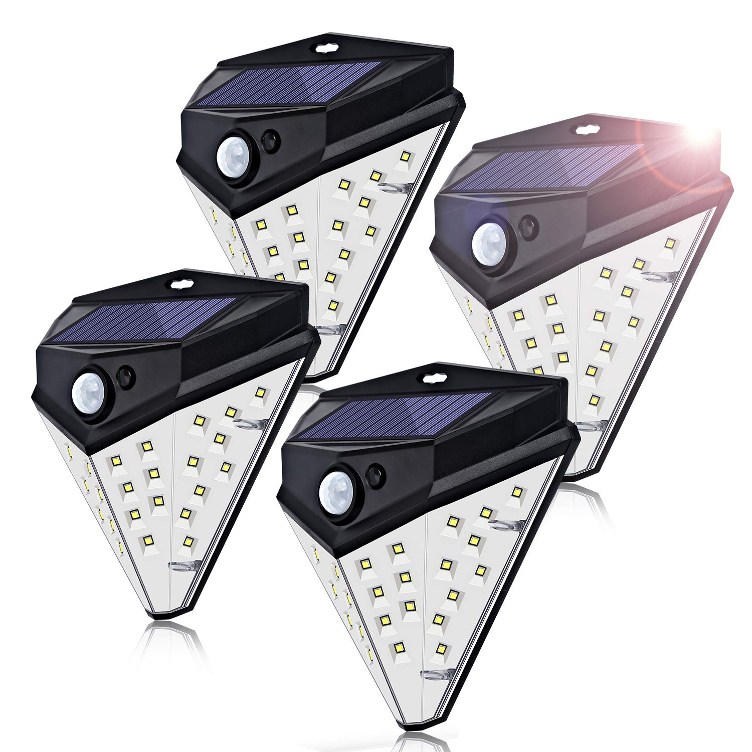 Fityou 32 LED Solar Motion Lights Outdoor, Wireless Motion Sensor Lighting of 4 Sides with 270°Wide Angle, IP67 Waterproof Security Lighting Nightlight for Front Door,Garden,Patio,Driveway,4 Pack