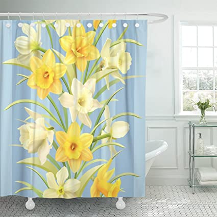 Emvency Shower Curtain Yellow Flower Daffodils Blue Pattern Beautiful Bloom Blossom Bouquet Waterproof Polyester Fabric 72