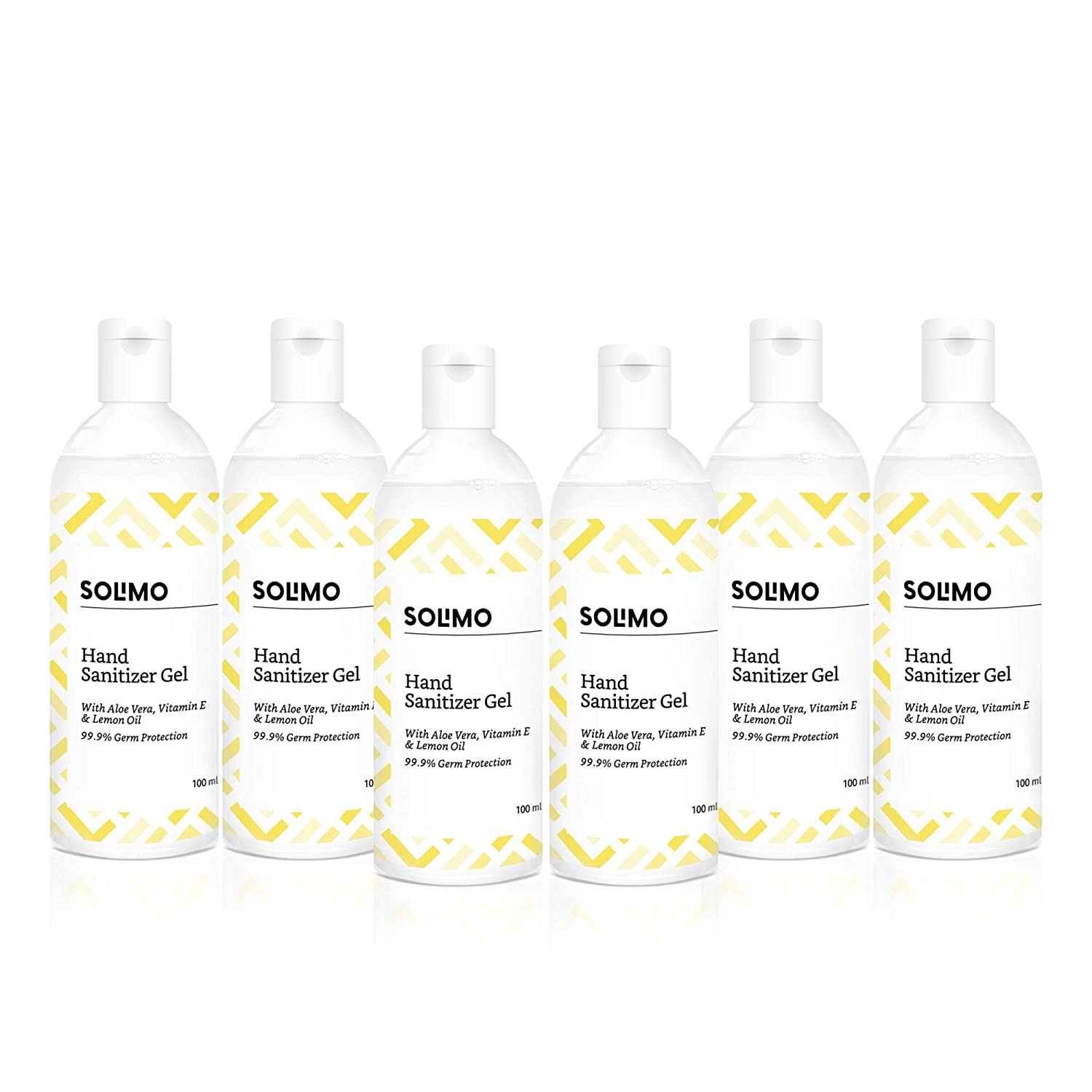 Amazon Brand Solimo Hand Sanitizer Gel, Pack of 6 for ₹126