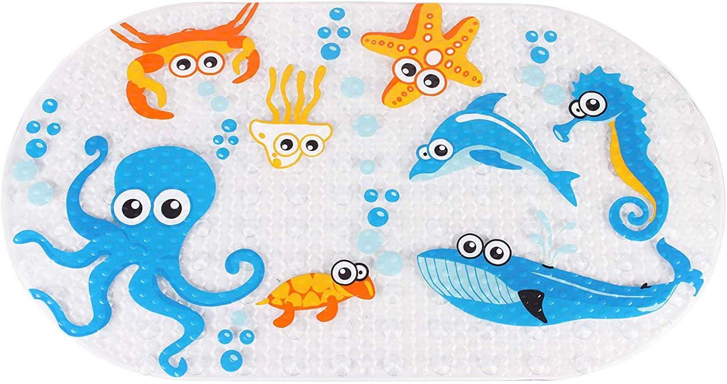 Mayco Bell Accesorios de baño alfombrillas de bañera y alfombrilla de ducha para niños antibacteriana, libre de ftalatos, látex y lavable a máquina, patrones de dibujos animados (pulpo)