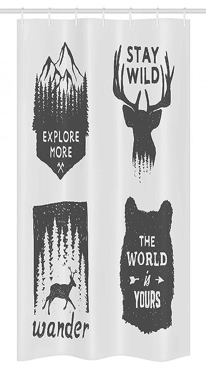 Elk Wandering In Snow Forest Bathroom ShowerCurtainSet Fabric/&Hooks71 Inch