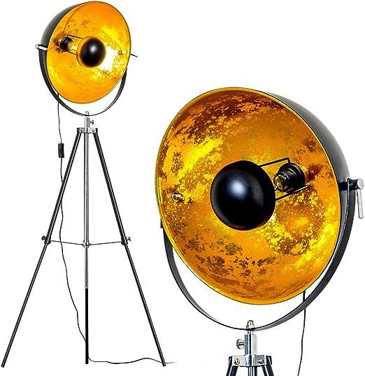 """lampadina a LED da 40 Watt Lampada da terra /""""Saturn/"""": Lampada da terra Vintage XXL ecoalogena con paralume in oro e nero a basso consumo r/étro"""