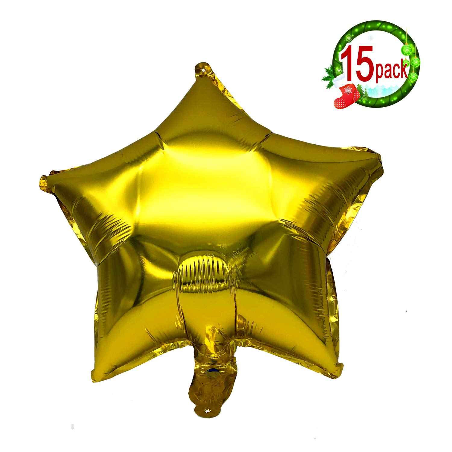 "15PCS 18"" Five Star Shape Foil Balloons Mylar Balloons for Graduation Party Supplies Birthday Party Wedding Decoration (Gold) jinzan"