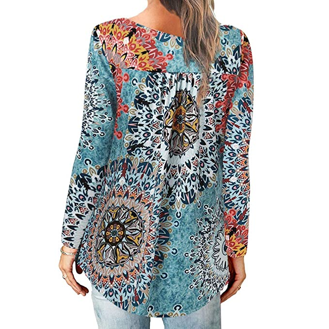 Camiseta Estampada de Manga Larga para Mujer Top Blusa Gasa Holiday Wind Beach Camiseta Manga Larga de Fiesta Holiday Ball Print: Amazon.es: Ropa y ...