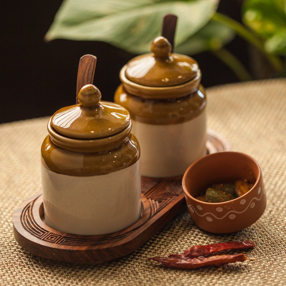 ExclusiveLane Old Fashioned Ceramic Jars With Hand Carved Tray -Condiment Containers Storage Containers Spice Jars Decorative Tray Jars With Lids Masala Dabba Ancient Cookware