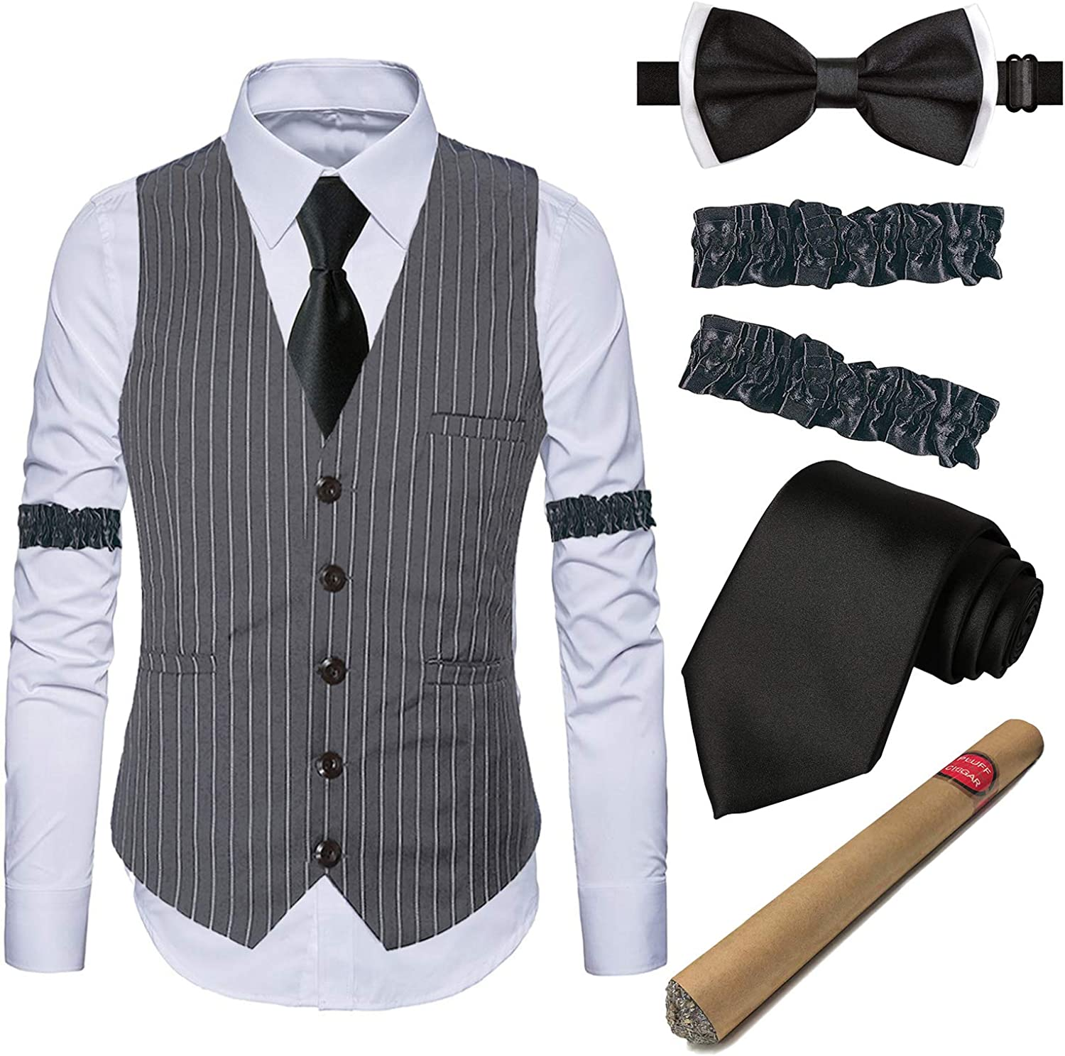 1920s Gatsby Costume Accessories for Mens Gangster Stripe Vest,White Dress Suit Shirt & Armbands,Toy Fake Cigar,Tie,Pre Tie