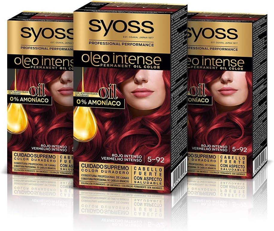 Syoss Oleo Intense - Coloración Permanente Tono 5-92 Rojo Intenso (Pack De 3) 50 ml