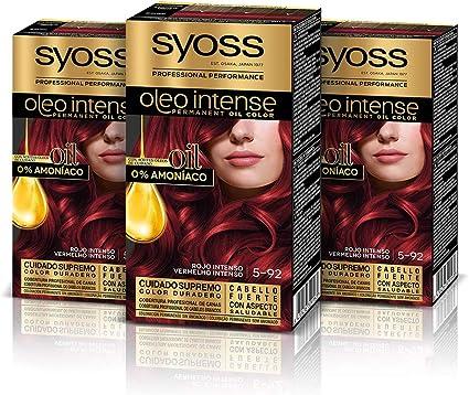 Syoss Oleo Intense - Tono 5-92 Rojo Intenso (Pack De 3) – Coloración permanente sin amoníaco – Resultados de peluquería – Cobertura profesional de ...