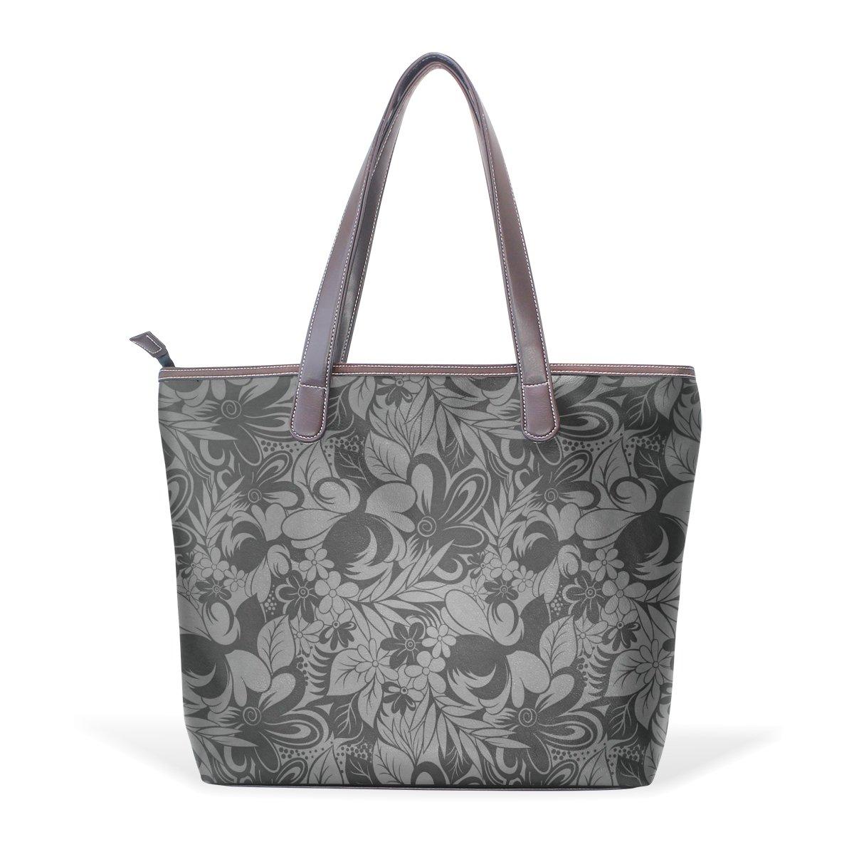 Ye Store Black Ash Floral Lady PU Leather Handbag Tote Bag Shoulder Bag Shopping Bag