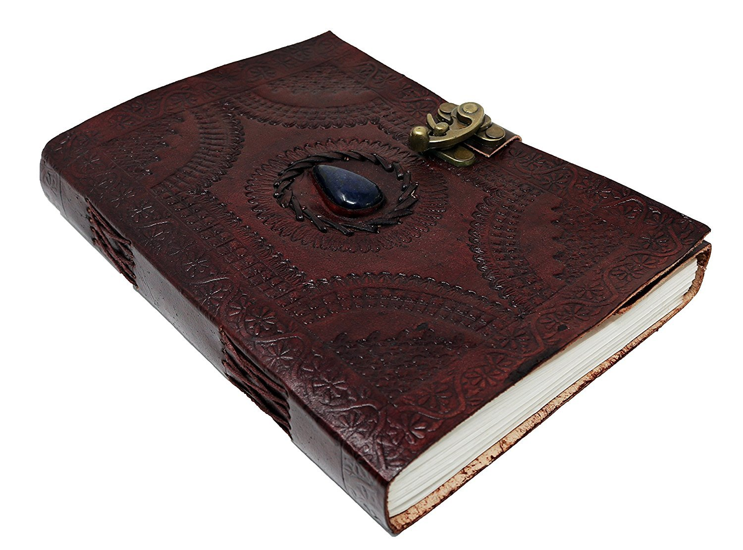 Large Leather Journal Celtic book of shadows blue stone blank refillable personal Diary with lock gift for writers jaald BLU-Stone-Large