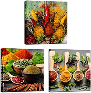 Biuteawal - Kitchen Pictures Wall Decor 3 Piece Set Spice and Spoon Wall Art Painting Herbs Food The Picture Print on Canvas for Home Dining Room Decoration Ready to Hang