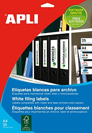 APLI 1233 - Etiquetas blancas imprimibles (190,0 x 61,0), adhesivo permanente 25 hojas: Amazon.es: Oficina y papelería