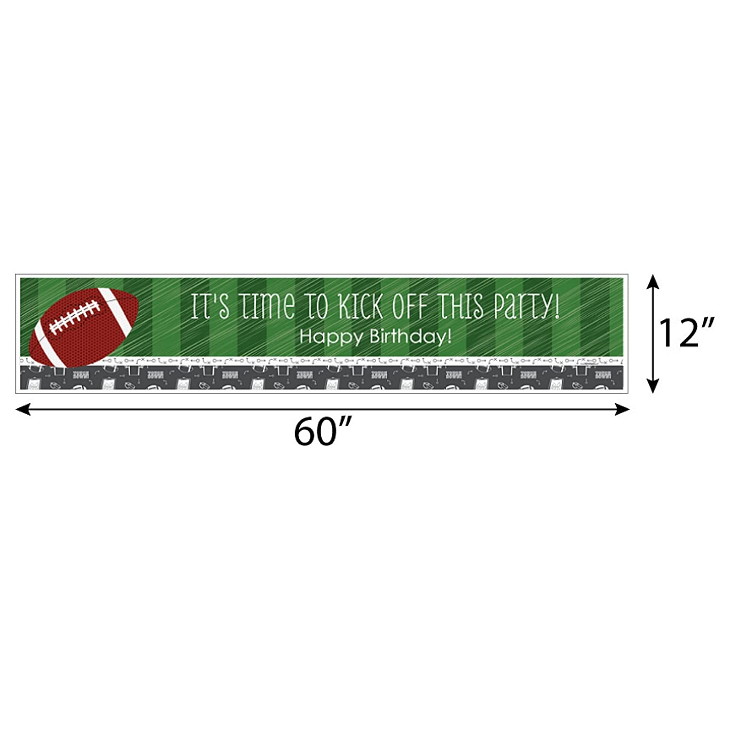 Football Big Dot of Happiness End Zone Birthday Party Decorations Party Banner