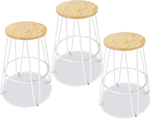 Poly and Bark Kasey Dining Counter 23 Metal Bar Stool, Natural Pinewood Seat with White Legs Set of 3