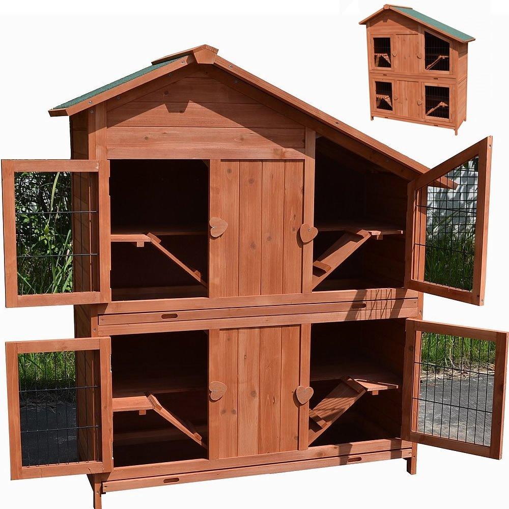 4 Etagen Kaninchenstall Holz Aufzucht Boxen Freigehege Käfig Hasenstall