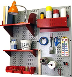 product image for Wall Control Pegboard Hobby Craft Pegboard Organizer Storage Kit with Gray Pegboard and Red Accessories