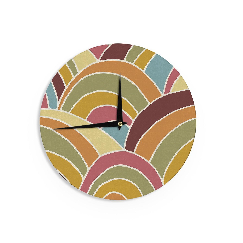 Kess InHouse Nacho Filella Arcs Orange Digital Wall Clock 12