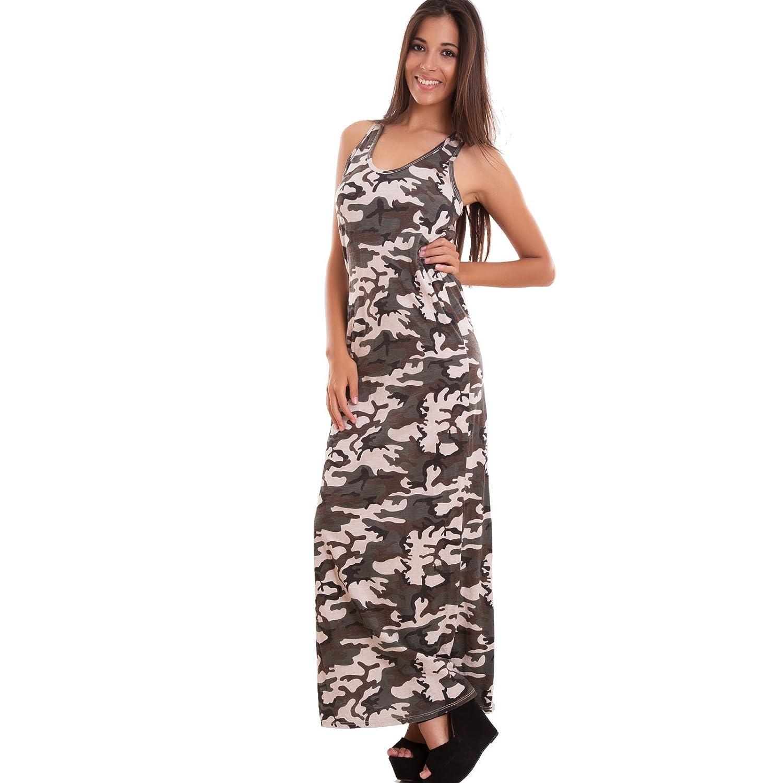 Toocool - Vestito donna abito lungo mimetico aderente camouflage cotone  nuovo AS-1989  Taglia unica 345d984b944