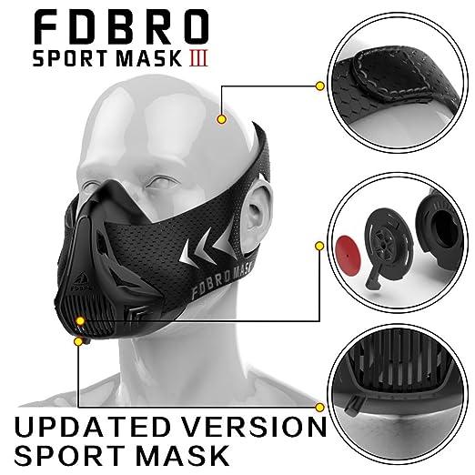 FDBRO - Máscara deportiva de alta altitud, color negro, con caja. Máscara de entrenamiento 2.0 con phantom.: Amazon.es: Deportes y aire libre