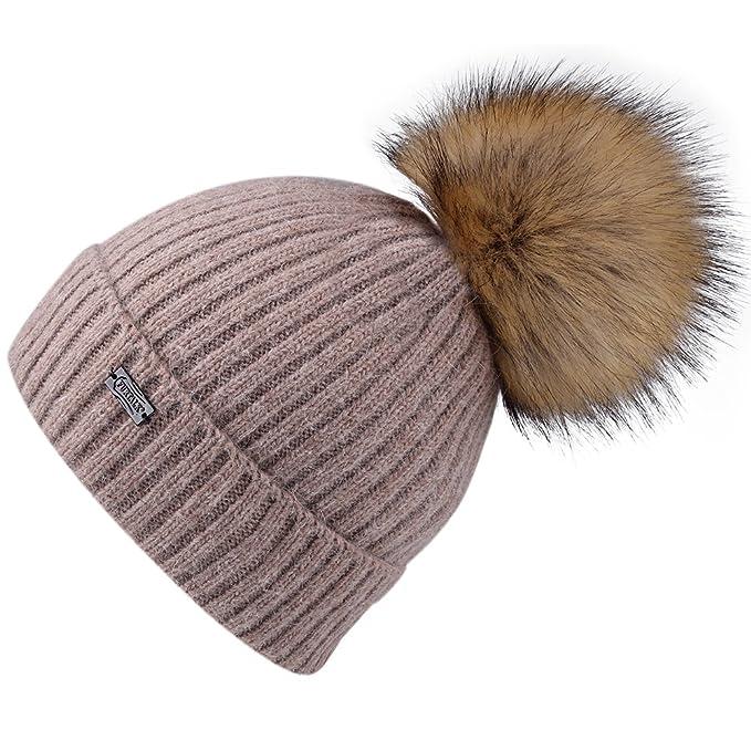 Cappellino con pompon Cappello con pompon Cappello con visiera lavorato a  maglia Angora con pelliccia sintetica 9b80bcb1f46f