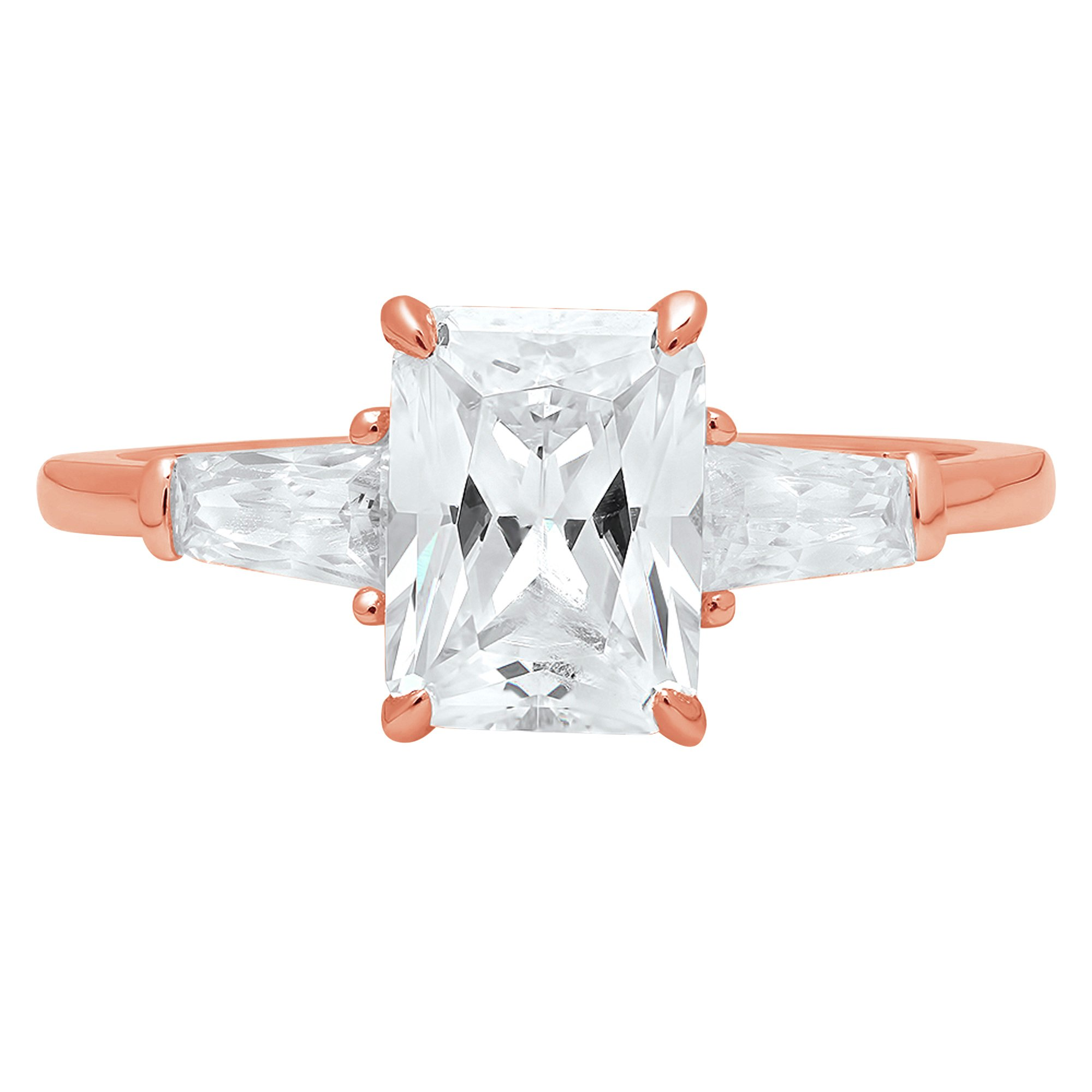 2.0ct Brilliant Emerald Cut Solitaire 3-Stone Engagement Wedding Bridal Anniversary Promise Band Ring Solid 14K Rose Gold for Women, 9.5 by Clara Pucci (Image #1)