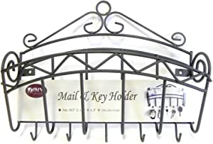 Mail and Key Holder Organizer Wall Mounted Black Metal