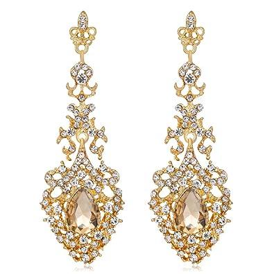 Amazon.com: Sanwood Elegant Women Rhinestone Long Drop Chandelier ...