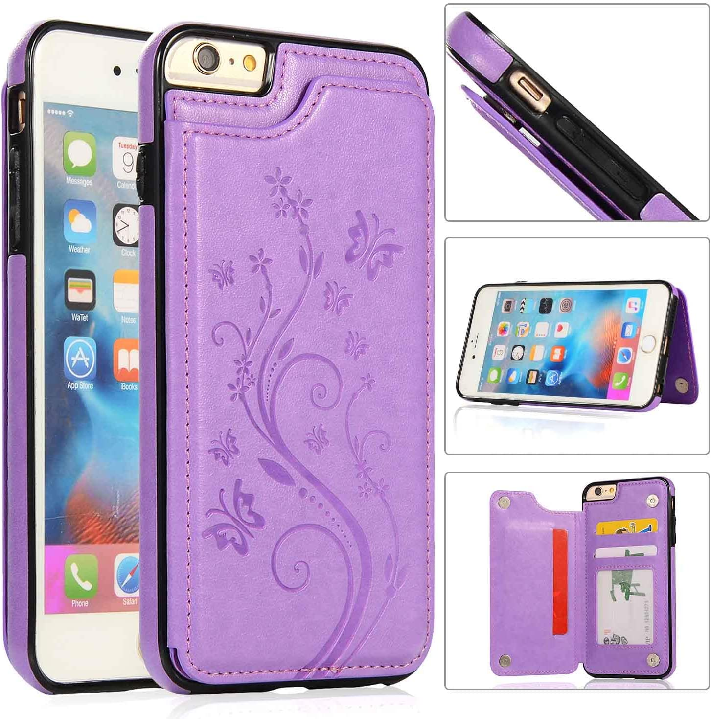 iPhone 6S Plus Wallet Case,iPhone 6 Plus Slim Fit Wallet Case for Women/Men,Aprilday Premium iPhone 6 Plus Leather Case [Butterfly Flower] Durable Cover with Card Holder&Kickstand -5.5in B+Purple