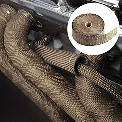 Ruban Isolant Echappement Moto avec 4 Collier Serrage Autobloquant en Inox pour Tuyeau Manifold Moto 10M*50mm Yizhet Titanium Magma Bande Isolant Thermique C/éramique