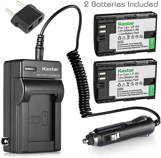 Kastar Cargador y batería para Canon LP-E6, LP-E6 N y Canon EOS 60d eos 60Da 70d XC10, EOS 5d mark ii, 5d Mark III, 5d Mark IV, EOS 5DS 5DS R, EOS