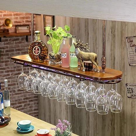 Estante para vinos Portavasos para Vino Estante para Copas de Hierro, Hierro Forjado y Madera