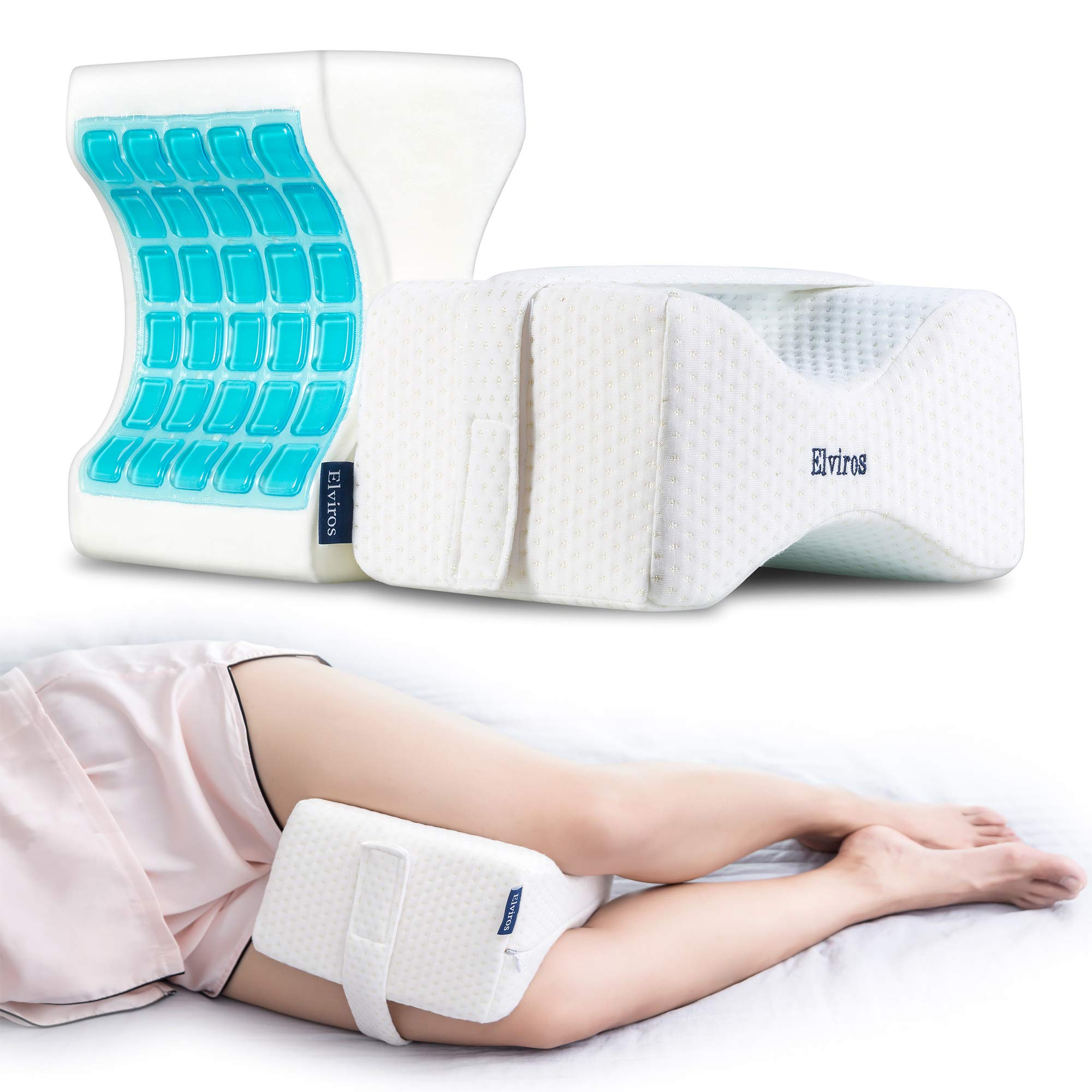 Elviros Knee Pillow for Side Sleepers, Cooling Gel Memory Foam Orthopedic Leg Pillows Support Cushion for Pregnancy, Hip, Back, Spine Alignment & Pain Relief