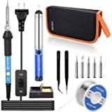 Soldering Iron Kit KSVZS【2020 NEW】Adjustable Temperature 60W/110V Soldering Iron with ON/OFF Switch,DIY Soldering Tool Kit/Tool Set (11-IN-1)