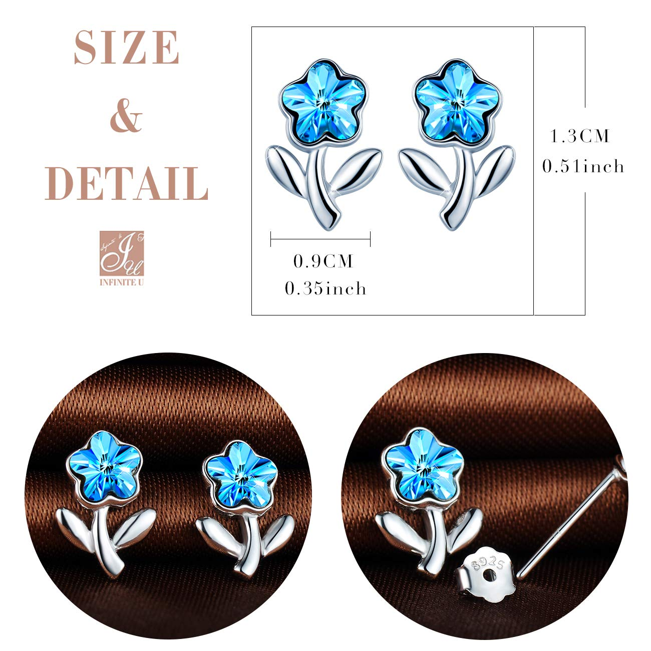 Inifinite U 925 Sterling Silver Stud Earrings Rose with Blue Crystal for Girls