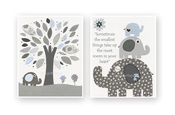 Kids Room Nursery wall art Decor Children Art print Play room Nursery Tree set of 2 prints Light blue Grey Baby Elephant. Set of 2 prints.