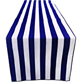 "ArtOFabric Decorative Cotton Navy Blue & White Stripped Table Runner Wedding Party Decor 12"" X 70"" (Pack of 4)"