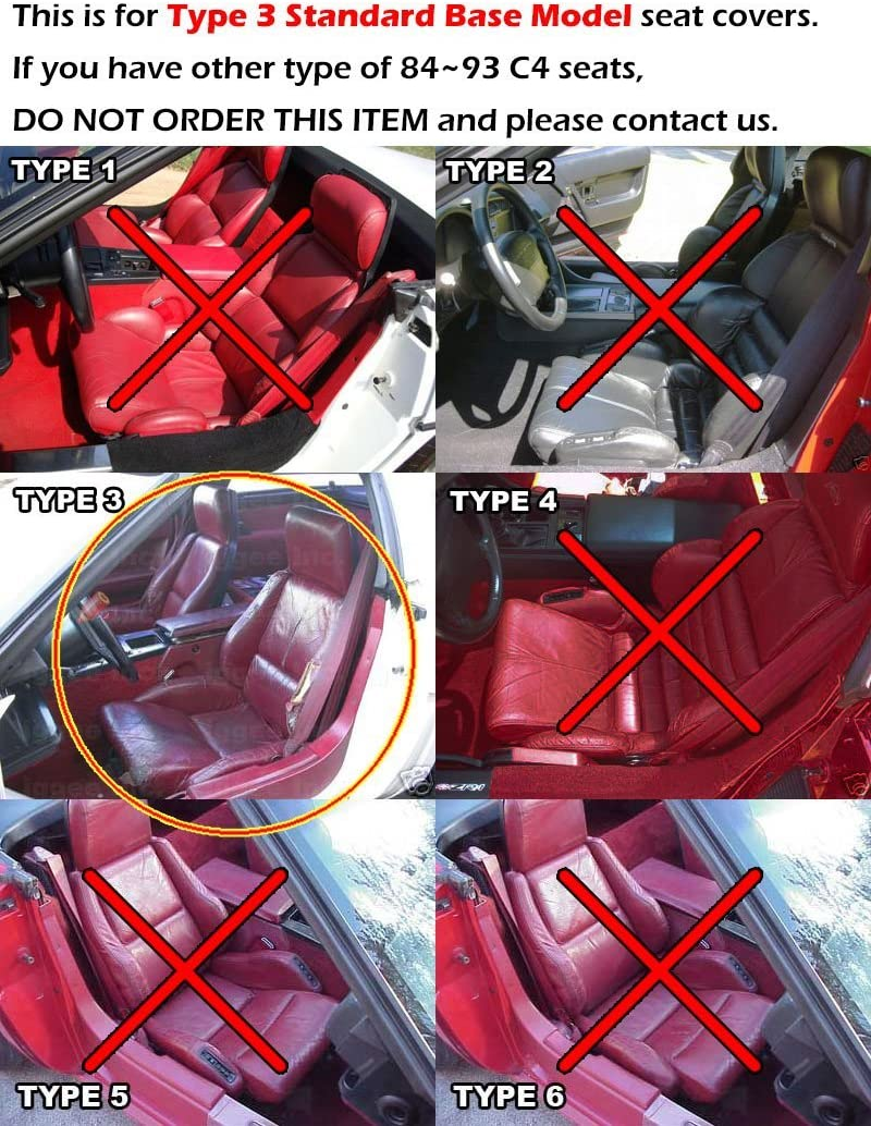 Iggee Chevy Corvette C4 Standard 1984-1993 Black Artificial Leather Custom Made Original fit seat Cover Base