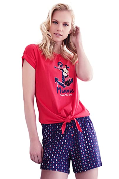 Disney - Pijama Corto Para Mujer Minnie Mouse, Color Rojo, Talla L