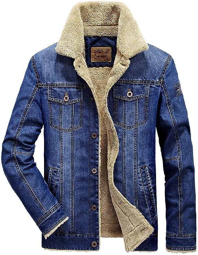 Wilngo Men Winter Warm Sherpa Thicken Denim Jacket Coat with Fleece Lined