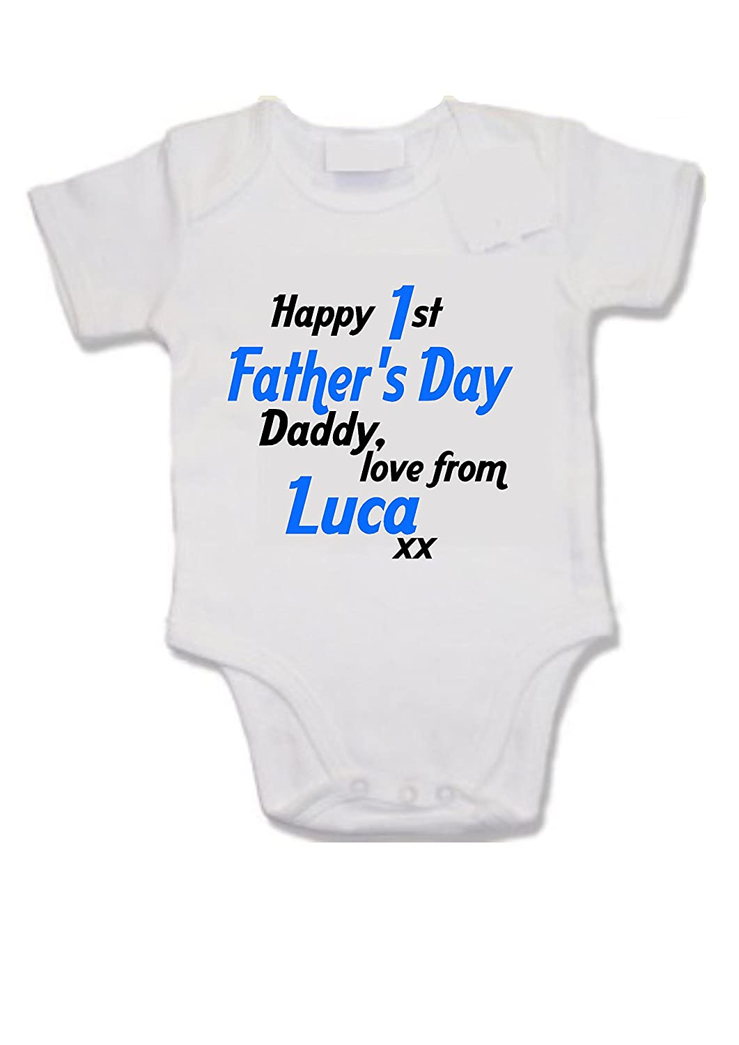 Customised baby vest - Happy 1st Father's Day Daddy love from (your name) xx son