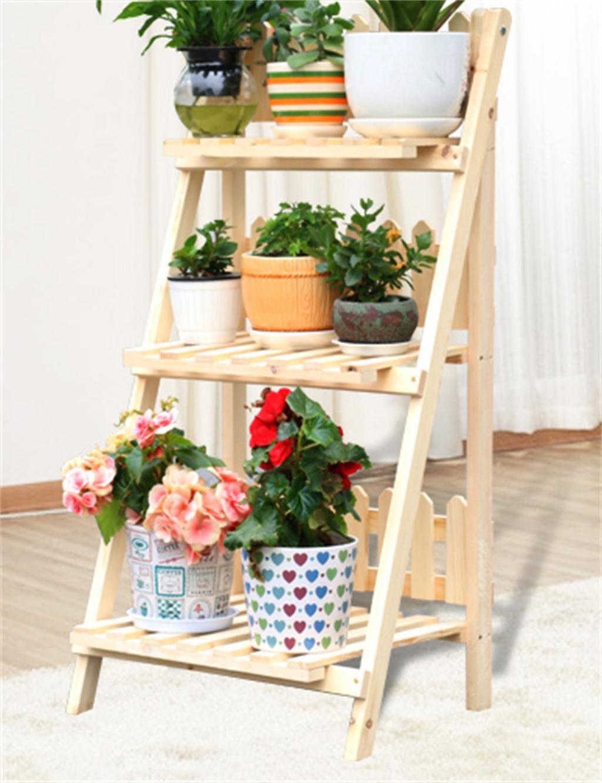 Massivholz 3 Stockiges Fussboden Blumen Topf Regal Betriebs