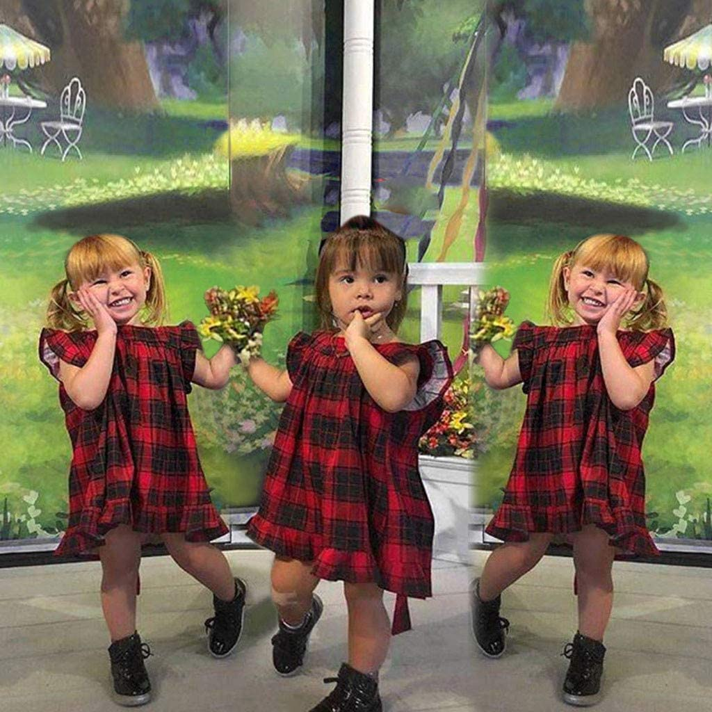 Infant Toddler Baby Girl Sleeveless Casual Sundress Ruffled Burgundy Dress Kids Playwear Outfit Clothes