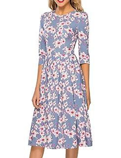 740b80e06ca Simple Flavor Women s Floral Vintage Dress Elegant Midi Evening Dress 3 4  Sleeves